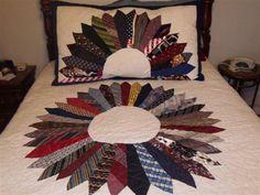 Free Tie Quilt Patterns   Necktie Quilt and Sham Starburst - Share Your Story: Your First Quilt