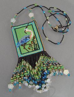 """""""Cranes"""" Hand-beaded Delica Bag Necklace  -  rubylane.com"""