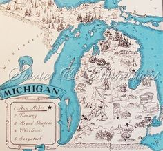 michigan map with pictures of mi products | Michigan Map - Retro Michigan Map - Vintage State Picture Map - Map ...