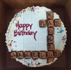 Scrabble theme birthday cake