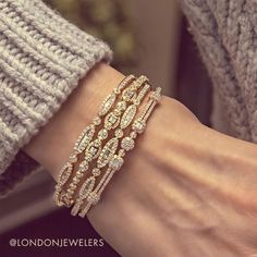 Best Diamond Bracelets : Mixed stones and mixed colors in these London collection bangles it's all a Diamond Bracelets, Gold Bangles, Sterling Silver Bracelets, Silver Jewelry, Fine Jewelry, Women's Jewelry, Ankle Bracelets, Diamond Jewelry, Jewelry Bracelets