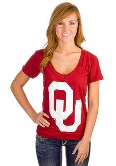 Oklahoma Sooners Womens OU Logo V-Neck Tee
