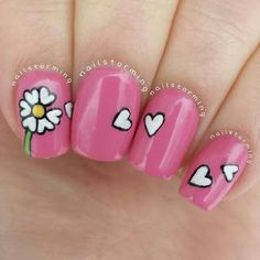 Image viaSuper cute but would b better on just one or two nailsImage viaFlower Nail Designs for Short NailsImage viaPink white glitter flower nail art lace flower tips sticke Fancy Nails, Trendy Nails, Pink Nails, Heart Nail Art, Heart Nails, Cute Nail Art, Cute Nails, Nailart, Valentine Nail Art
