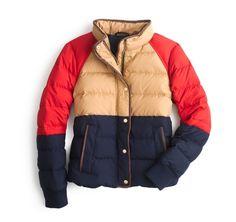 Color Block Ski Jacket J.Crew Navy Blue Gold Red