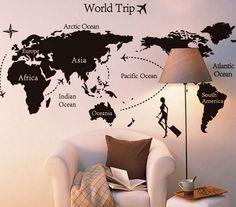 Wereldkaart muursticker world trip