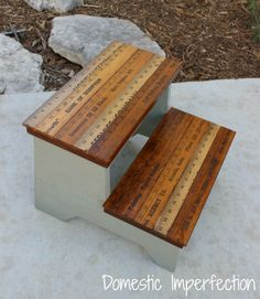 Love this vintage ruler step stool for classroom or playroom