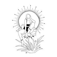 @poeticamenteflor on instagram Cool Art Drawings, Outline Drawings, Pencil Art Drawings, Art Drawings Sketches, Mini Canvas Art, Desenho Tattoo, Environmental Art, Religious Art, Drawing People