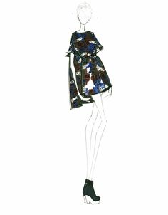 Fashion Illustrations by Alessandra De Gregorio and Designs by WHIT Fall14 RTW. Woodland Print.  #alessandradegregorio #WHIT #Fashionillustrations