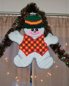 snowman flake plastic canvas  with 5 printed pages
