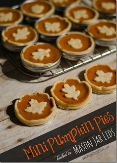 Mini-Pumpkin-Pie-Recipe-Baked-in-Mason-Jar-Lids. Love this idea, would use it for scratch pie using pumpkin pur?e in place of pumpkin pie filling. Mini Pumpkin Pies, No Bake Pumpkin Pie, Pumpkin Pie Recipes, Fall Recipes, Holiday Recipes, Mini Pies, Mini Cheesecakes, Pumpkin Cheesecake, Canned Pumpkin Pie Filling
