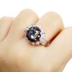 Fashion 925 Silver White Gold Zircon Filled Women Wedding Engagement Ring