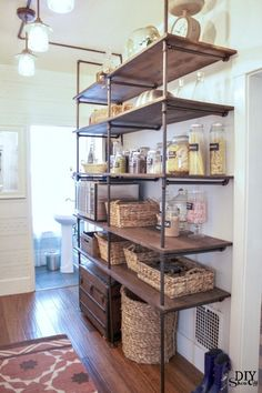 open pantry with pipe shelving #bloggerstylinhometours
