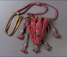 18th century, Europe - Drawstring bag - Silk damask; metallic thread and wire tassels; braided cords and tassels