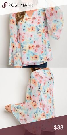 """New floral spring top . Brand new from my boutique  . Model is wearing the exact product  . Fabric content: 100% polyester  . Made in the USA - Brand is Peach Love California, this retailer at Nordstrom for $64              Any questions? Don't hesitate to ask  ✨ Use the """"buy now"""" or """"add to bundle"""" feature to purchase ✨ Nordstrom Tops"""