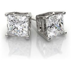 Princess Cut Diamond Stud Earrings in 14k White Gold (1.0 ctw) SI H-I ($2,299) ❤ liked on Polyvore