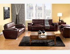 Rustic Brown Leather Sofa Loveseat Chair Plush Cushion Living Room Set