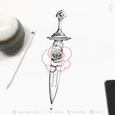 Dotwork dagger rose flower tattoo design - no unnecessary lines, only the fierce dagger and the sensual red rose. Red Flower Tattoos, Flower Tattoo Designs, Forearm Tattoos, Body Art Tattoos, Foot Tattoos, Rose And Dagger Tattoo, Daggar Tattoo, Dagger Drawing, Arm Tattoos