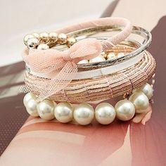 6PCS de la elegancia del estilo del Bowknot de la gasa y Rhinestone Diseño pulseras rebordean para las mujeres para Vender - La Tienda En Online IGOGO.ES