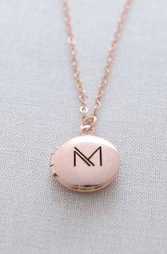 Engraved 1/2 inch Round Locket Necklace