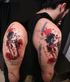 Hourglass with red flowers, trash polka style tattoo on man's shoulder. By tattoo artist Dimos (pair a dice tattoo).