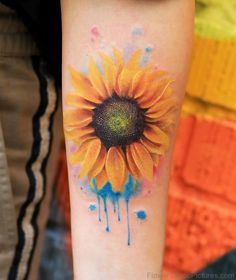 Watercolor Sunflower Tattoo On Arm