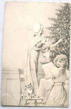 A s Wichera Pretty Ladies at Christmas Tree Kitten M M Vienne Postcard   eBay