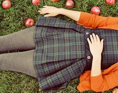 Orange, plaid, knit tights, and apples...fall.