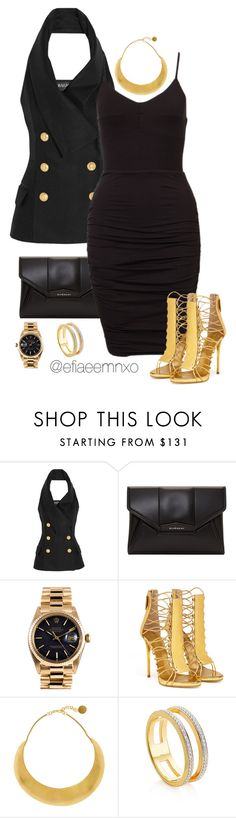 """""""Bombshell"""" by efiaeemnxo ❤ liked on Polyvore featuring Balmain, Givenchy, Rolex, Giuseppe Zanotti, Hervé Van Der Straeten and Monica Vinader"""