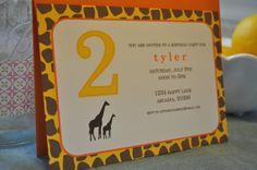 Happy Birthday Giraffe Personalized Invitation by LittleSugarBean, $16.00