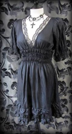 Romantic Gothic Black Silk Lace Ruffle Gypsy Mini Dress 6 8 Victorian Vintage | THE WILTED ROSE GARDEN on eBay // Worldwide Shipping Available
