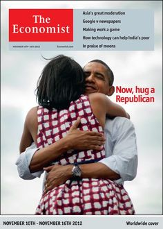 La foto que tuiteó Obama con su esposa es, quizá, la más compartida dentro de la red social desde que se creó, según Mashable. Por ello, La revista The Economist no tuvo reparo en utilizarla como portada de la semana en su nueva edición.