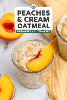 This Peaches & Cream Overnight Oatmeal is tangy, creamy, and full of peachy goodness! Made with only 8 ingredients, this wholesome recipe is the ultimate fuss-free breakfast. Vegan Gluten Free Breakfast, Vegan Brunch Recipes, Delicious Vegan Recipes, Recipes Dinner, Yummy Food, Strawberries And Cream Oatmeal, Vegan Meal Prep, Vegetarian Cooking, Dairy Free Yogurt