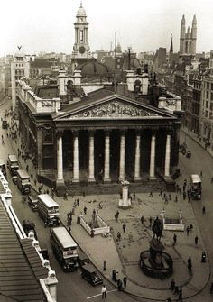 An aerial view of the Royal Exchange in the City of London - 18 June 1931
