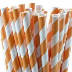 Amazon.com: Paper Party Straws | 50 Ct (Orange): Home & Kitchen