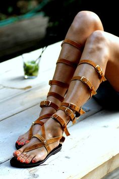 Tall gladiator sandals Huntress handmade to by ElinaLinardaki