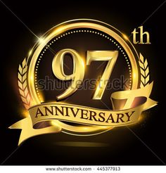 97th golden anniversary logo with ring and ribbon, laurel wreath vector design. - stock vector
