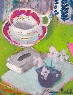 ANNE REDPATH (1895 - 1965), Still Life with cup and saucer, oil on board, 12 x 14 inches, Bourne Fine Art & Scottish Paintings