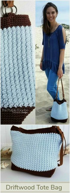 The Driftwood Tote Bag is a simple design with modern impact. An easy pattern repeat makes this a perfect project to enjoy without a lot of fuss. The texture made in the body of the bag is gorgeous. Find the Free Crochet Pattern at #thepurpleponcho #crochetpurse #beachdaycrochet #moderncrochet