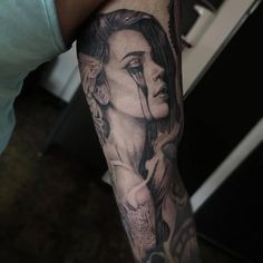 full sleeve tattoos with meaning #Halfsleevetattoos Gypsy Tattoo Sleeve, Half Sleeve Tattoos Forearm, Unique Half Sleeve Tattoos, Half Sleeve Tattoos Designs, Best Sleeve Tattoos, Tattoo Designs, Tattoo Sleeves, Face Tattoos For Women, Sleeve Tattoos For Women