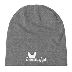 Frenchiefyd Knit Slouch Beanie (White Graphic)