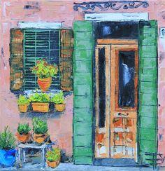 "Original art for sale at UGallery.com | Doorway in Italy by Lisa Elley | $350 | oil painting | 10"" h x 10"" w"