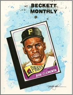 Roberto-Clemente-Beckett-Baseball-Original-Artwork-by-Kevin-John-Jobczynski