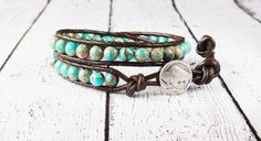 Beaded Leather Bracelet Double Wrap Turquoise Magnesite Buffalo Nickel Brown Leather Gemstone Bracelet Chan Luu Inspired Boho