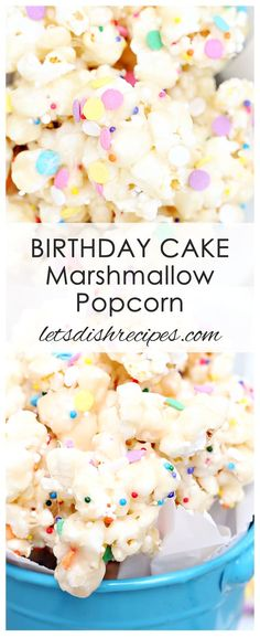 Birthday Cake Marshmallow Popcorn Birthday Cake Marshmallow Popcorn Recipe: Popcorn is covered in a chewy marshmallow and cake batter coating, then sprinkles are added for a fun and festive touch. Popcorn Mix, Popcorn Cake, Popcorn Snacks, Candy Popcorn, Flavored Popcorn, Sweet Popcorn Recipes, Popcorn Balls, Mini Desserts, Delicious Desserts