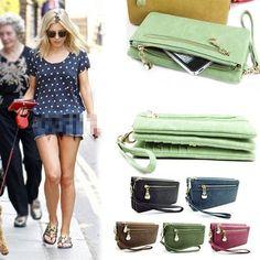 Womens Wallet Wristlet Strap Card Coin Holder Long Clutch Zipper Leather Purse