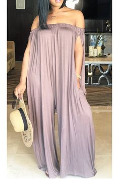 boutiquefeel / Oversized Stretchy Off Shoulder Loose Jumpsuit Long Jumpsuits, Jumpsuits For Women, Playsuits, Look Fashion, Fashion Outfits, Womens Fashion, Dress Fashion, Trendy Fashion, Latest African Fashion Dresses