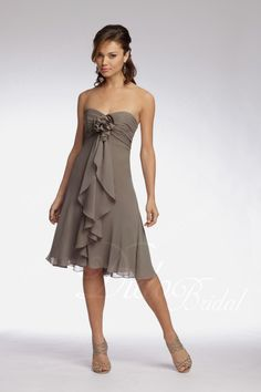 Sleeveless Empire Sweetheart Knee-length Chiffon Bridesmaid Dress with Flower available in lavendar