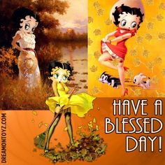 HAVE A BLESSED DAY! -Betty Boop Graphics & Greetings http://bettybooppicturesarchive.blogspot.com/ & https://www.facebook.com/bettybooppictures/  Autumn / Fall Betty Boop collage, with Pudgy and a Cat, raking leaves #Dreamontoyz.com
