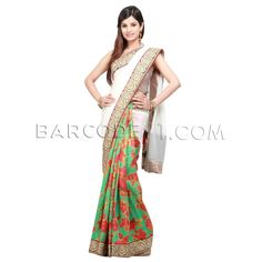 $324 Green half raw silk floral printed saree is with off white chiffon pallu.Saree is finished with embroidered border.It comes with raw silk floral printed blouse piece.Slight variation is possible in color