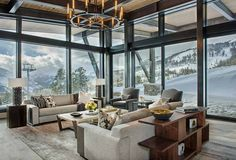 Modern-rustic mountain home with spectacular views in Big Sky country Mountain Peek is a custom designed modern-rustic mountain home by Centre Sky Architecture, located within the Yellowstone Club in Big Sky, Montana. Mountain Home Exterior, Modern Mountain Home, Mountain Homes, Mountain Living, Mountain Decor, Modern Rustic Homes, Rustic Contemporary, Modern Decor, Modern Lodge